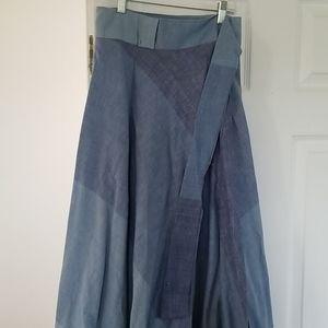 Vintage deadstock ombre blue cotton wrap skirt